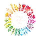 Vector watercolor colorful circular floral wreath with summer flowers and central white copy space for your text. Vector handdrawn Royalty Free Stock Images
