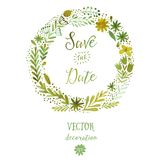 Vector watercolor colorful circular floral wreaths with summer flowers and central white copyspace for your text. Vector handdrawn Royalty Free Stock Image