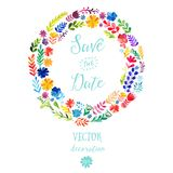 Vector watercolor colorful circular floral wreaths with summer flowers and central white copyspace for your text. Vector handdrawn Stock Photo