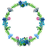 Vector watercolor colorful floral wreaths with summer flowers and central white copyspace for your text. Royalty Free Stock Image