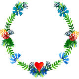 Vector watercolor colorful floral wreaths with summer flowers and central white copyspace for your text. Stock Photography