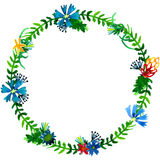 Vector watercolor colorful floral wreaths with summer flowers and central white copyspace for your text. Stock Images
