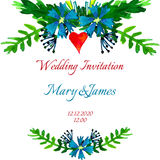 Vector watercolor colorful floral wreaths with summer flowers and central white copyspace for your text. Stock Image