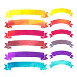 Vector watercolor colorful ribbons banners. On a white background Stock Photos