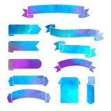 Vector watercolor colorful ribbons banners. On a white background Royalty Free Stock Photos