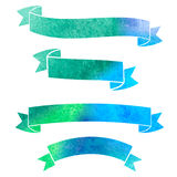 Vector watercolor colorful ribbons banners. On a white background Stock Illustration
