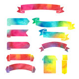 Vector watercolor colorful ribbons banners. On a white background Royalty Free Stock Photo