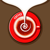 Vector watercolor cup of coffee with milk Royalty Free Stock Photography