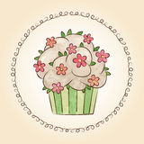 Vector watercolor cupcake with flowers and leaves. Vector illustration Stock Image