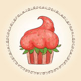 Vector watercolor cupcake look like strawberry. Vector illustration Stock Image