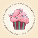 Vector watercolor cupcake with pearls. Vector illustration Stock Image