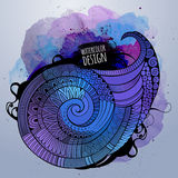 Vector watercolor decorative spiral design Royalty Free Stock Images