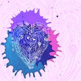 Vector watercolor design with doodle heart Royalty Free Stock Images