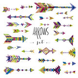 Vector watercolor design elements. Arrows set in ethnic style Royalty Free Stock Photos