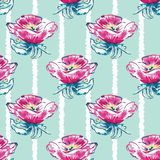 Vector Watercolor Dog-Roses with Loose Stripes seamless pattern background. royalty free illustration