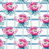 Vector Watercolor Dog-Roses with Plaid seamless pattern background. Perfect for fabric, wallpaper and scrapbooking projects royalty free illustration