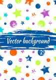 Vector watercolor drawn background with colorful geometrical figures, stars, circles and brush stroke. Colorful creative artistic template for greeting card Stock Images