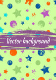 Vector watercolor drawn background with colorful geometrical figures, stars, circles and brush stroke. Colorful creative artistic template for greeting card Royalty Free Stock Photo