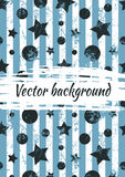 Vector watercolor drawn background with colorful geometrical figures, stars, circles, vertical stripes and brush stroke. Stock Photos