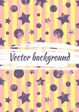 Vector watercolor drawn background with colorful geometrical figures, stars, circles, vertical stripes and brush stroke. Stock Photo