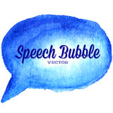 Vector watercolor drawn blue speech bubble Royalty Free Stock Images