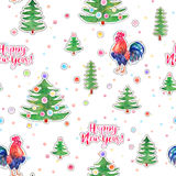 Vector watercolor fire cock and christmas green tree with text H Stock Photos