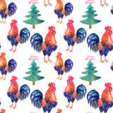 Vector watercolor fire cock and christmas green tree. With text Happy New Year . Chinese calendar Zodiac for 2017 New Year of rooster.  bird and tree in Stock Photo