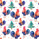 Vector watercolor fire cock on white background with text Happy. Vector watercolor fire cock and christmas green tree with text Happy New Year and balls. Chinese Royalty Free Stock Photo