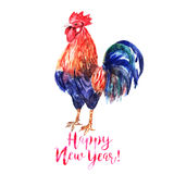 Vector watercolor fire cock on white background with text Happy. New Year!. Chinese calendar Zodiac for 2017 New Year of rooster. Isolated bird and text in Stock Images