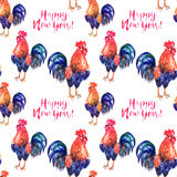Vector watercolor fire cock on white background with text Happy New Year. Vector watercolor fire cock on white background with text Happy New Year!. Chinese Royalty Free Stock Photos