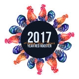 Vector watercolor fire cock on white background with text Happy New Year. Chinese calendar Zodiac for 2017 New Year of rooster. Isolated bird and text in Royalty Free Stock Photo