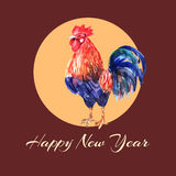 Vector watercolor fire cock on white background with text Happy New Year Royalty Free Stock Images