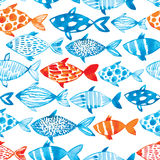 Vector watercolor fish on light background. Watercolor pattern s Royalty Free Stock Images