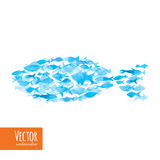 Vector watercolor fishes on light background. Stock Image