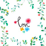 Vector Watercolor Floral background With Hand Painted Leaves. Watercolor Leaf Branch backdrop. Text Frame. Template for wedding, v Royalty Free Stock Images