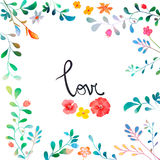 Vector Watercolor Floral background With Hand Painted Leaves. Watercolor Leaf Branch backdrop. Text Frame. Template for wedding, v Stock Photography