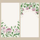 Vector watercolor floral banner. Hand draw herbal border Stock Photo
