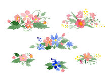 Vector watercolor floral bouquets Royalty Free Stock Photos