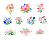 Vector watercolor floral bouquets Royalty Free Stock Images