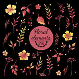 Vector watercolor floral elements on black background Stock Photos