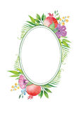 Vector watercolor floral garnet frame Royalty Free Stock Photos