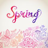 Vector watercolor floral greeting card with Spring lettering. Royalty Free Stock Photography
