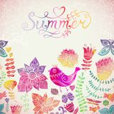 Vector watercolor floral greeting card with Summer lettering. Stock Images