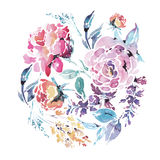 Vector watercolor floral round frame of red roses Stock Images