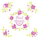 Vector watercolor floral set. Stock Photo