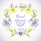 Vector watercolor floral wreath. Royalty Free Stock Photo