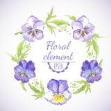 Vector watercolor floral wreath. Stock Photo