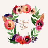 Vector watercolor floral wreath set with vintage leaves and flowers. Artistic  design for banners, greeting cards,sales, pos Stock Photography