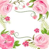 Vector watercolor frame with pink flowers stock photography