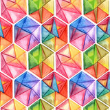 Vector  Watercolor Geometric Seamless Pattern with Hexagons Royalty Free Stock Photos